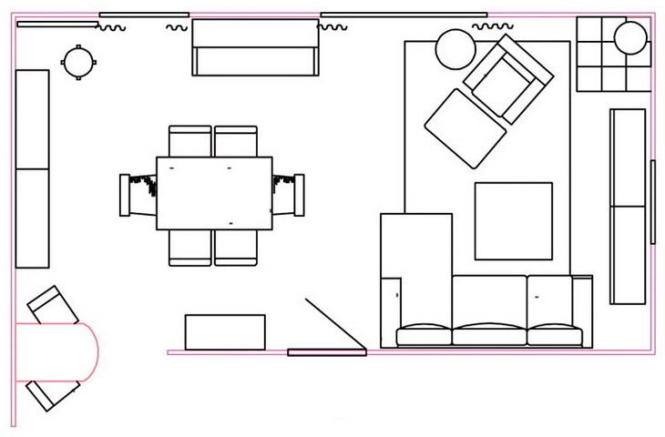 Обновление гостиной-столовой 30 кв.м с красной акцентной стеной