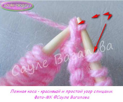 Объемная коса спицами: схема с описанием и видео в фото