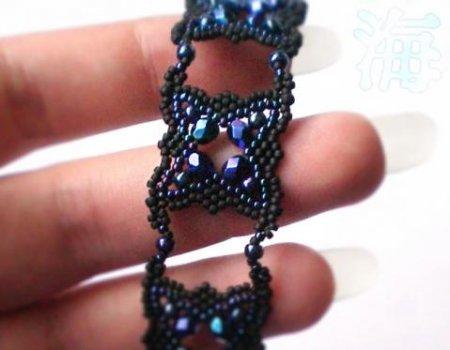 Схема плетения бисером браслета «Глубина» в фото