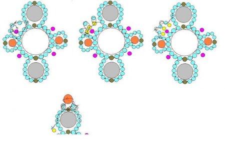 Схема плетения из бисера браслета «Нубука» в фото