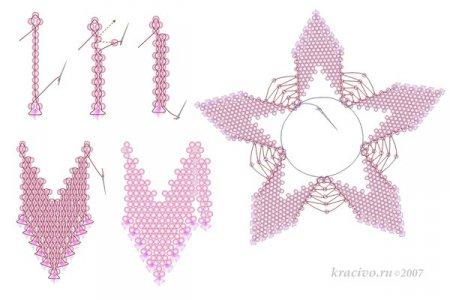 Схема плетения из бисера красивого цветка для ожерелья в фото