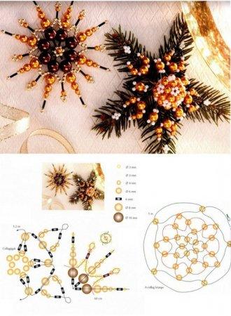 Схемы плетения из бисера новогодних снежинок на елку в фото
