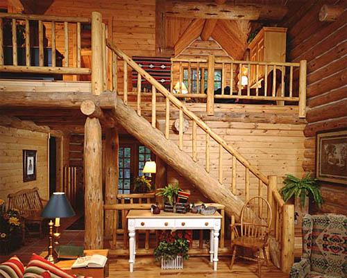 Выбираем интерьер деревянного дома в фото