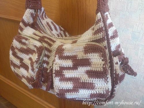 Вязаная сумка своими руками из меланжевой пряжи в фото