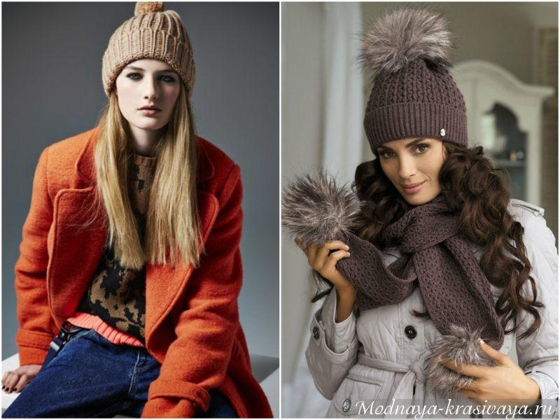 Женская шапка с помпоном спицами с описанием и фото в фото