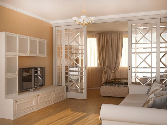 фото Разделение комнаты на 2 зоныпри помощи дверей