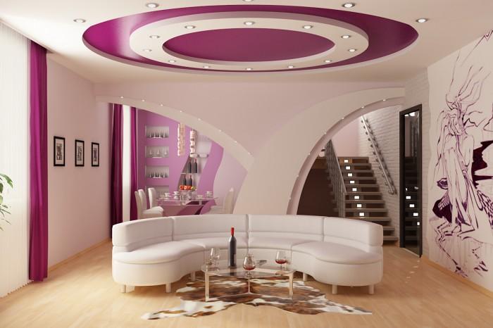 Фото Комбинация натяжного потолка с гипсокартонной конструкцией