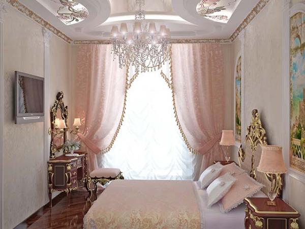 Фото Розовые шторы для спальни