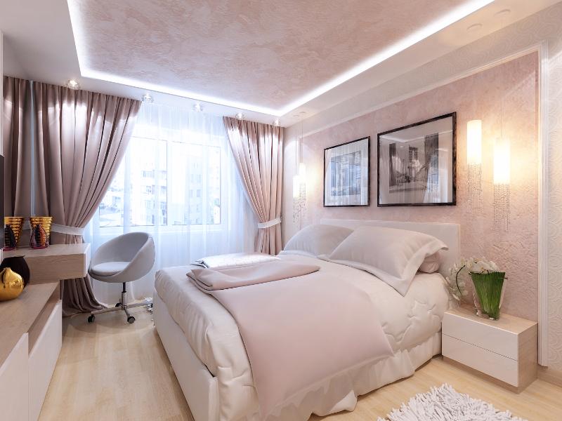 фото Интерьер спальни в пастельных тонах