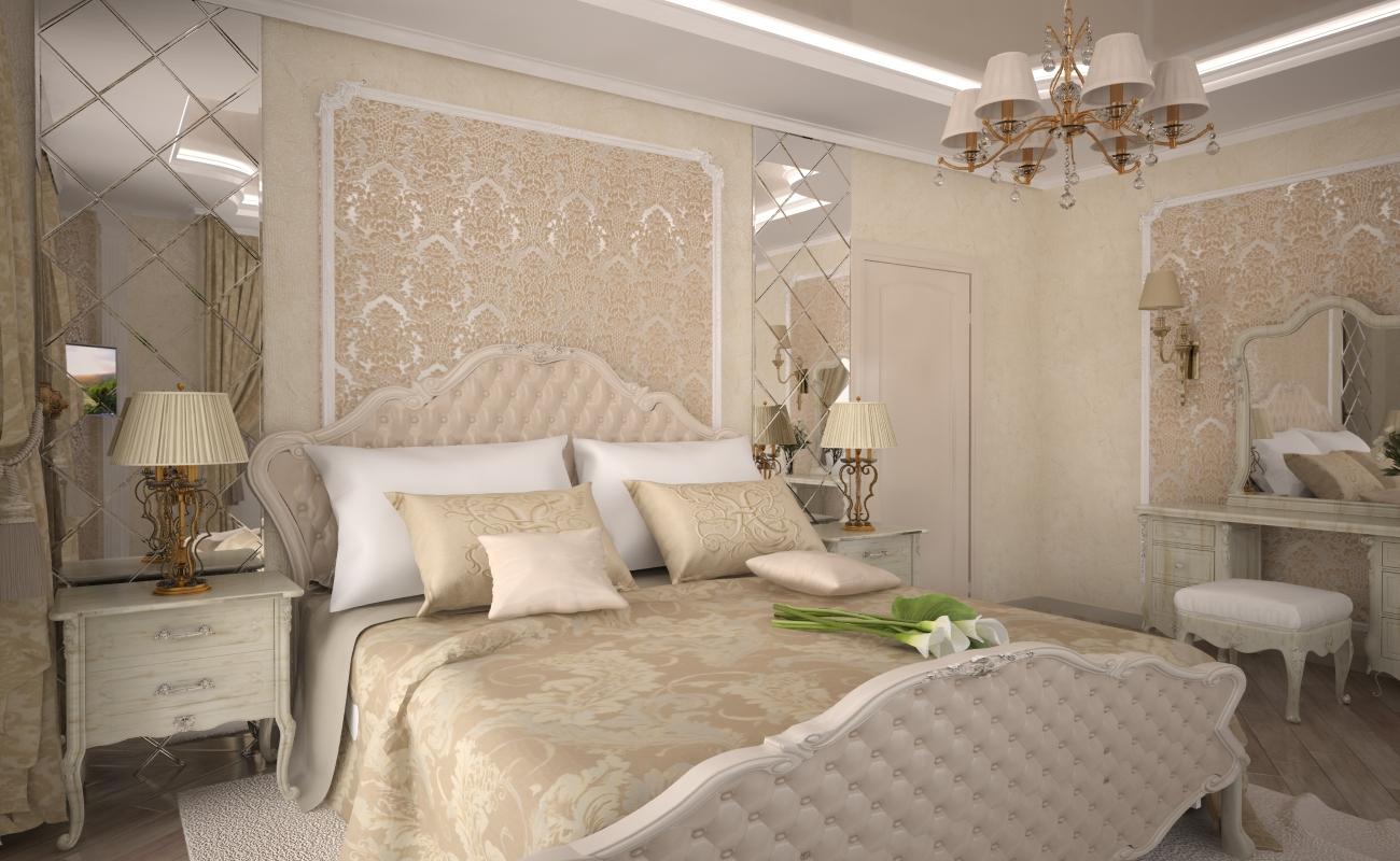 фото Спальня в классическом стиле: светлые тона
