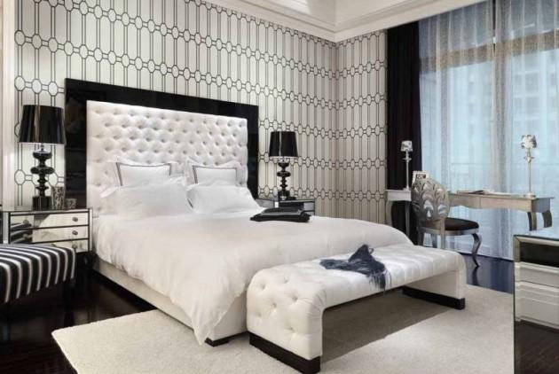 Фото идея спальни в черно-белом цвете