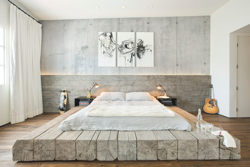 фото Кровать-подиум в скандинавском стиле