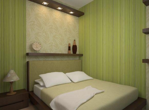 фото Кровать в интерьере маленькой спальни