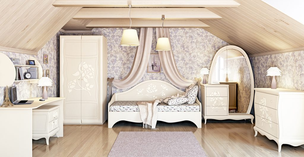 Фото Спальня для девочик с белой мебелью