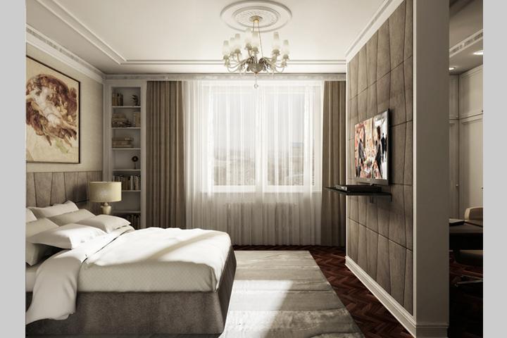 Фото Обои в спальне двух видов, пример 3