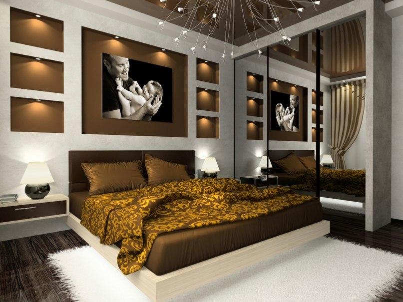 фото Идея для интерьера спальни: напольный ковер
