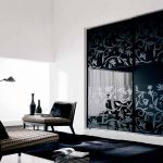 Furniture-Contemporary-italian-glossy-black-built-in-wardrobe-design-inspiration-with-two-sliding-doors-and-floral-printed-door-impressive-lavish-bedroom-wardrobes-and-modern-closets