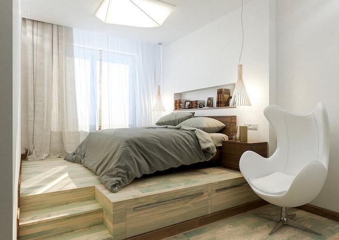 фото Кровать-подиум: оформление в светлых тонах