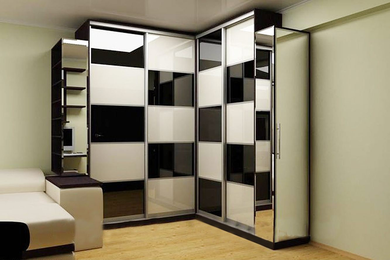 фото Шахматный дизайн углового шкафа