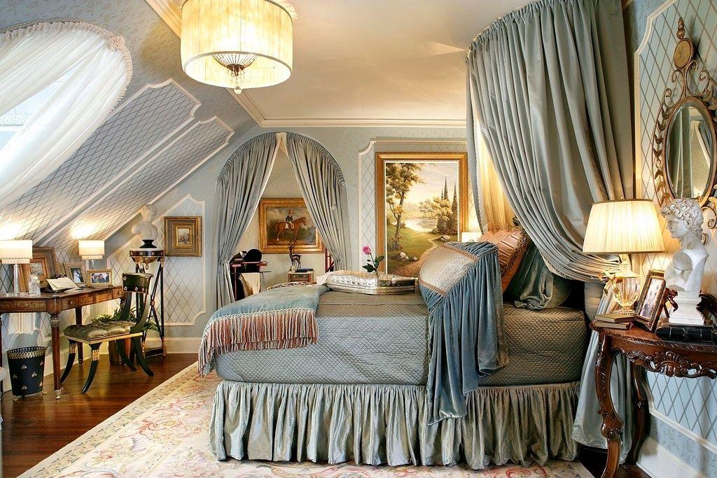 фото Спальня в классическом стиле: шторы