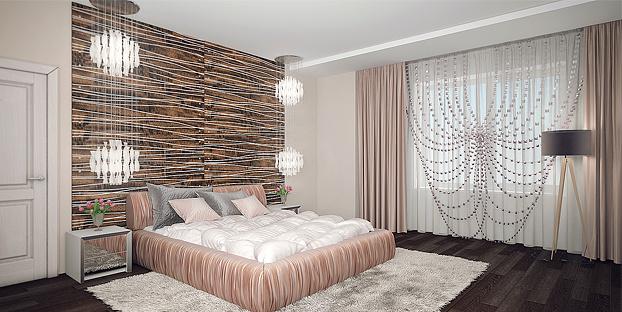Украшенные шторы в спальню