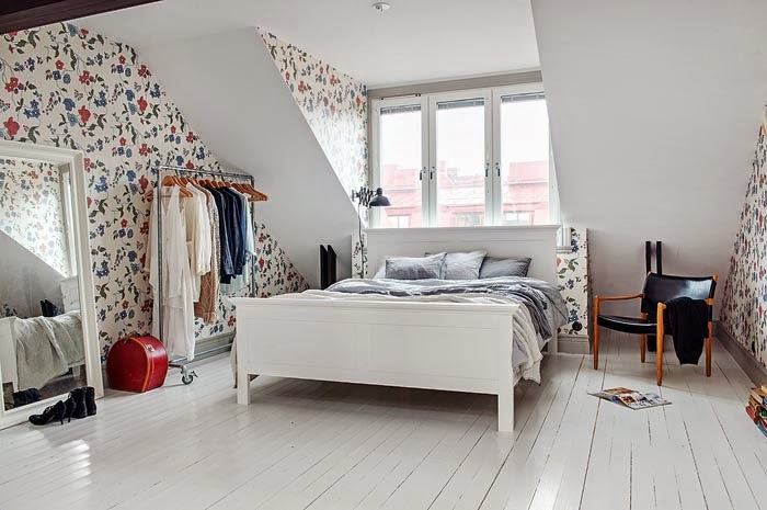 фото Спальня в скандинавском стиле - орнаменты в интерьере