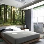 bedroom-modern-bedroom-decoration-with-maple-bed-frame-and-gray-fitted-sheet-complete-with-fireplace-and-curtain-combine-with-natural-forest-wall-mural-wallpaper-murals-for-bedrooms-936x697