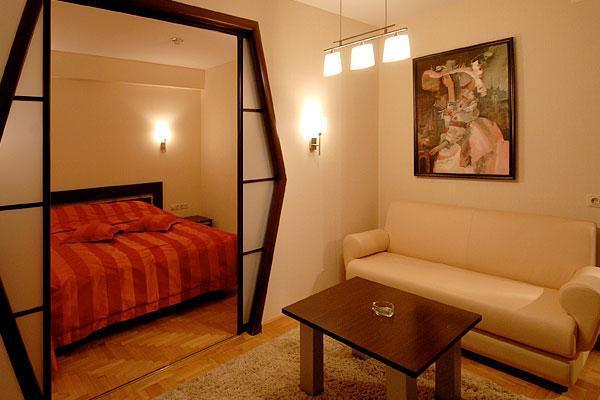 фото Зонирование гостиной-спальни раздвижными дверями