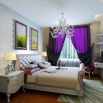 chic-purple-bedroom-curtain-feats-with-pretentious-white-chandelier-and-fabulous-area-rug