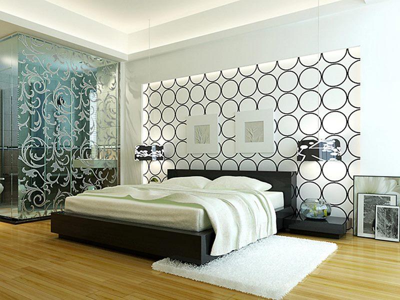 Фото Спальня в светлых тонах с черным узором