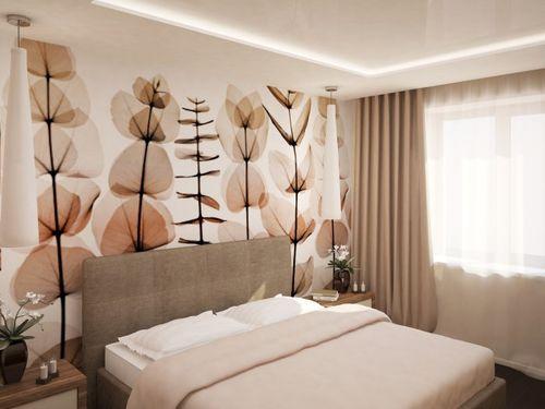 Фото Фотообои в спальне в пастельных тонах