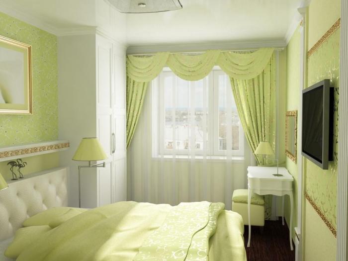 фото Светлые тона в дизайне спальни 9 кв м