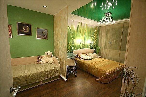 фото Спальня и гостинаяв зеленых цветах