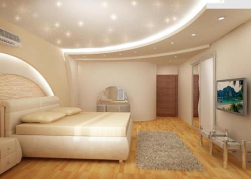 Фото Натяжной потолок бело-розового оттенка