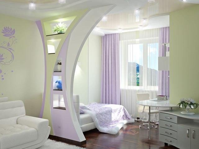 фото Яркая гостиная-спальня