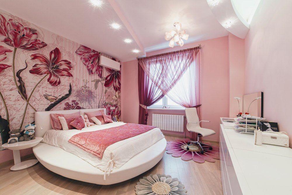 Фото Фотообои в спальне цветок