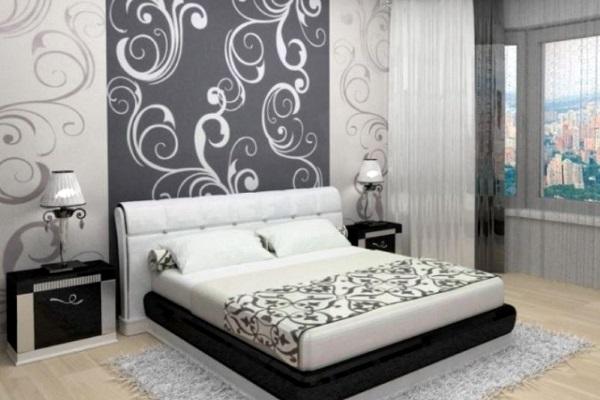фото Обои двух видов в спальне: темные и светлые