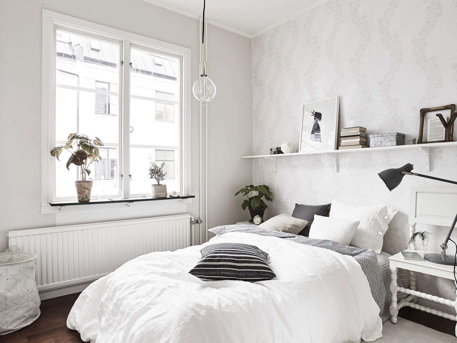 фото Скандинавская спальня в холодных тонах