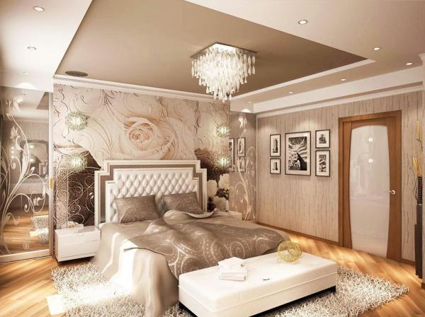 Фото Использование фотообоев в маленькой спальне 12 квм