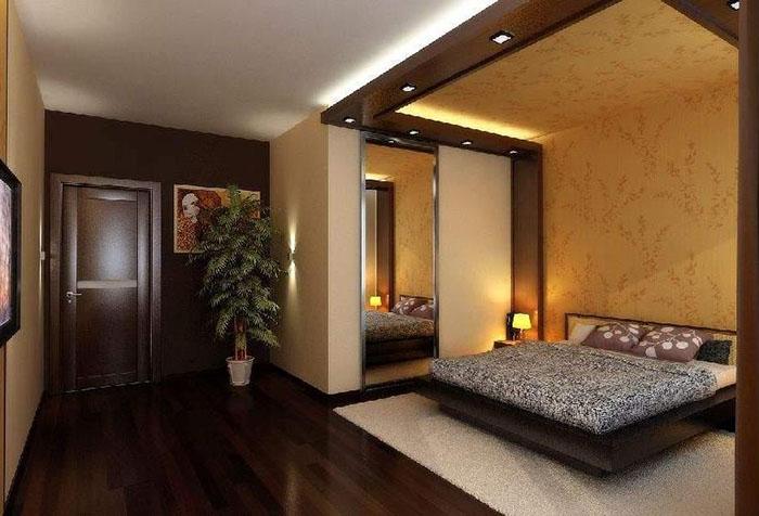 Фото Обои в спальне двух видов, пример 2