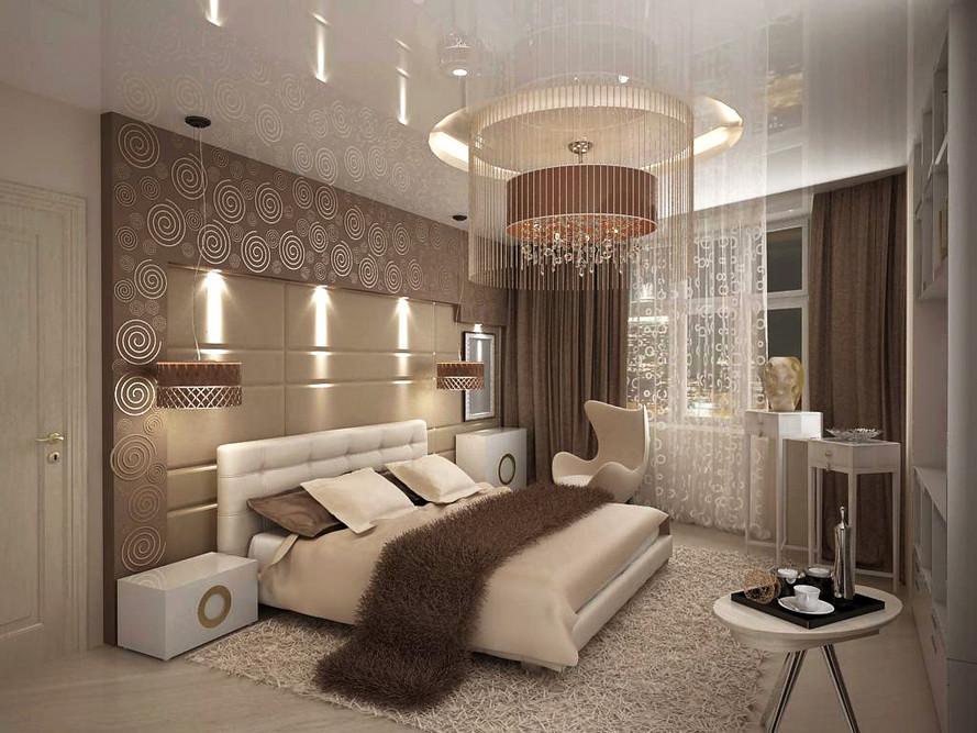 Фото Дизайн спальни 12 кв.м в коричневых цветах