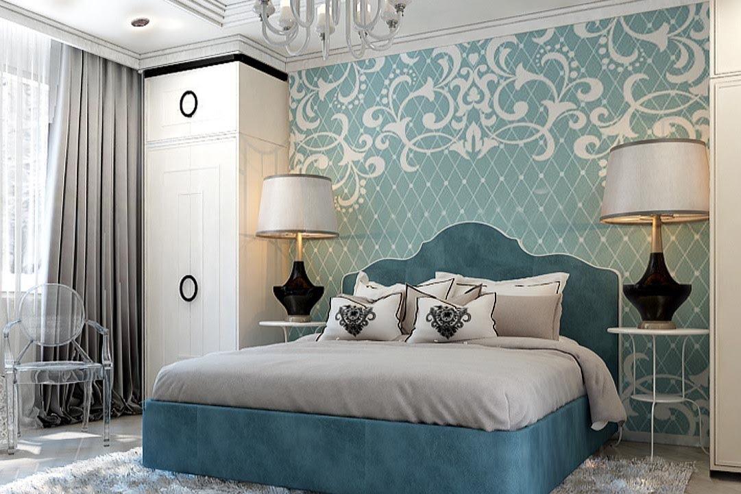 Фото дизайн спальни 2016 в голубом цвете