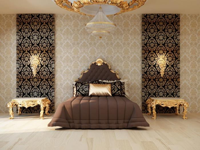Фото Как комбинировать обои в спальню бежевого и коричневого цвета