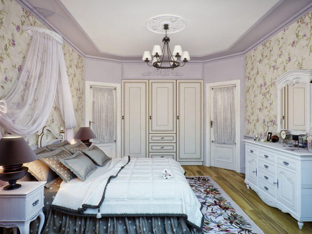фото Отделка потолка в прованской спальне