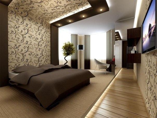 Фото Зонирование комнаты при помощи комбинирования обоев