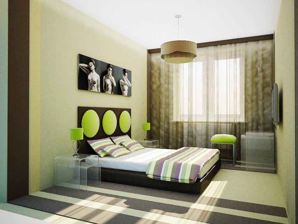 фото Ремонт спальни: интерьер в зеленых тонах