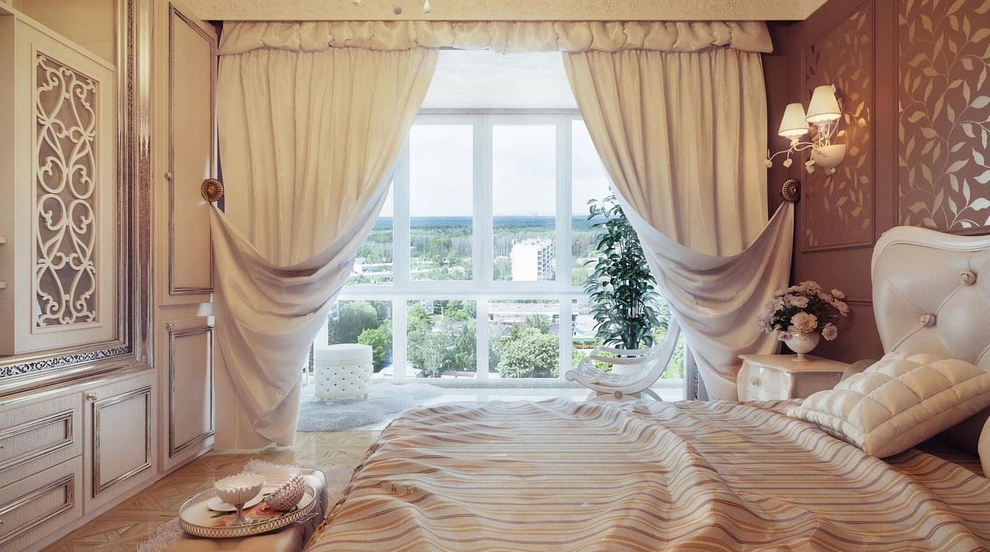 Шторы в спальню: вариант оформления