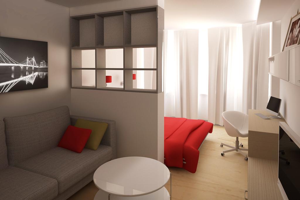 фото Разделение комнаты на спальню и гостиную при помощи перегородки