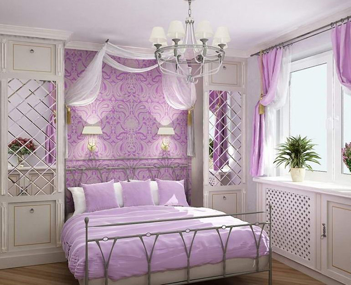 фото Фиолетовый интерьер спальни прованс