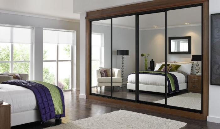 фото Встроенный шкаф-купе в спальне, пример 4